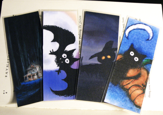 Illustrated Halloween bookmarks by fallenpeach on etsy